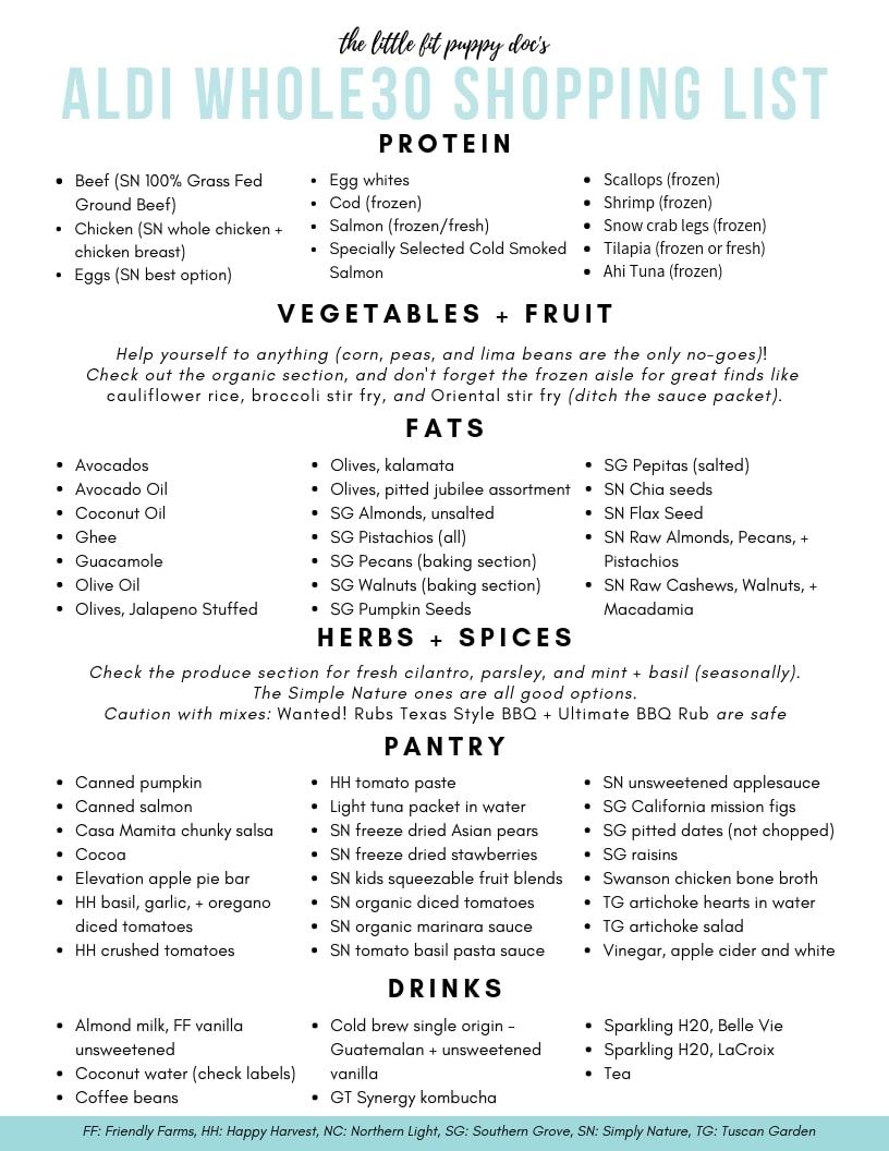 The Ultimate ALDI Whole30 Shopping Guide - The Little Fit Puppy Doc